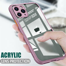 For iPhone 12 11 Pro Max Xs XR 7 8 6 Silicone Edge Acrylic Clear Hard Case Cover