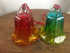 "Vintage Lot of 2 Glass Bells 5"" Tall #Wh-2"
