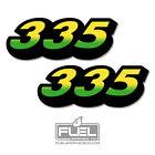 "John Deere 335 Lawn Tractor Hood Vinyl Decal 2-Pack - 4.25"" wide x 1.6"" tall"