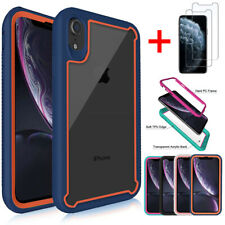 For iPhone X/XS/ XR/ XS MAX Hybrid Rugged Clear Slim Case Cover+Screen Protector