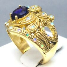 "STUNNING 9CT YELLOW GOLD *AMETHYST & OPAL* ONE FOR MUM DRESS RING SIZE ""N""  1737"
