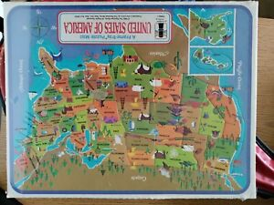 1968 Rainbow Works United States of America Frame-Tray Puzzle Map Shrink Wrapped
