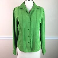 Talbots Womens Top Faux Suede Green Button Down Long Sleeve Pin Tuck Size S