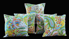 Indian Set Of 5 Pillow Cushion Cover Kantha Work Home Decor Ethnic Paisley Print