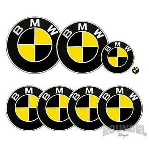 For BMW Badges - Matte Black & Yellow - All Models Decals Wrap Stickers Overlays