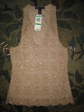 Gold Beaded Crochet Knit Halter Tank. Lg. NWT $69