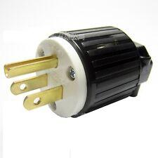 American 3 pin plug, black (USA NEMA 5-15P)