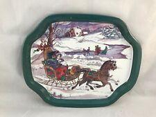 Vintage Winter Scene Metal Tray Horse Sleigh Ice Skating Farm Christmas Holidays