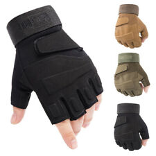 Mens Tactical Half Finger Gloves Army Military Soldier Special Combat Mitten AU