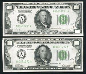 (2) CONSECUTIVE FR. 2151-A 1928-A $100 FRN'S BOSTON, MA CHOICE UNCIRCULATED