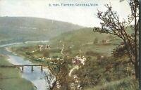 Antique colour printed postcard Tintern General View railway bridge river