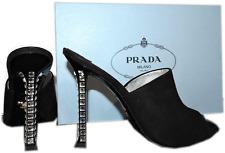 $890 Prada Jeweled Crystals Heel Black Suede Mules Pump Shoe 39 Sandal Slingback