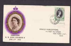 St. Vincent 1953 FDC 1st day cover to the USA QE II coronation BPA cachet