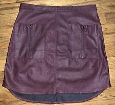 BCBG Max Azria Faux Leather Skirt Color: Bordeaux (Wine) SZ 6 - Zipper + Pockets