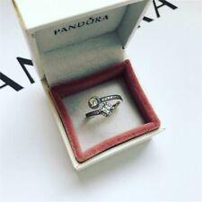 Pandora Silver Sparkling Square & Circle Open Ring Size - 58 (ALE S925)