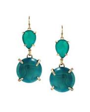 Kendra Scott Green Agate Marina Vintage Drop Gold Earrings Rare