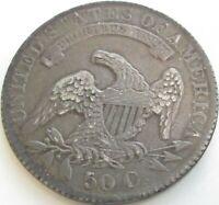 1831 Capped Bust Silver Half Dollar in a SAFLIP® - AU- (XF+)
