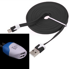 Noodle fast data sync Cable + 2 USB blue Wall AC charger iPhone 6s Plus 6 5 7