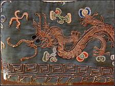 Antique Qing chinois taoïste prêtre Dragon Jaune Robe Chauve-souris Crane Lotus fragment