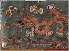 Antique Qing Chinese Taoist Priest Yellow Dragon Robe Bat Crane Lotus Fragment