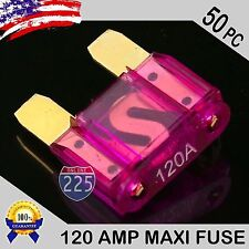 50 Pack 120A AMP Gold Large Blade Style Audio Maxi Fuse Car 12V 24V 32V Auto US