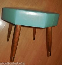 VINTAGE 50's ART DECO TEAL OCTAGON VINYL LEGGED STOOL HASSOCK OTTOMAN FURNITURE