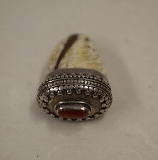 Tibet Conch Shell Coral Etched Repoussé Silver Pendant