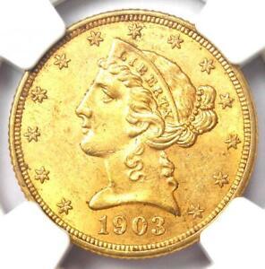 1903 Liberty Gold Half Eagle $5 Coin - Certified NGC MS61 (BU UNC) - Rare Coin!