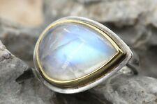Mondstein Silber Ring mit Gold 750 Akzente Sterling Silber Größe 54 9,87g