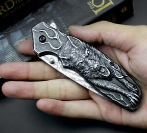 Designer Damascus steel folding knife camp hunt pocket outdoor Survival EDC tool