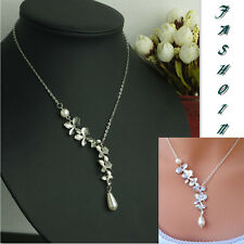 Women Vintage Silver Orchid Flower Pendant Girl Choker Necklace Collares