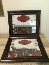 2 Framed Bain Savon  Wall Hanging Art Picture French Country Bathroom Decor