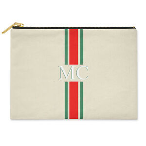 PERSONALISED MONOGRAMMED INITIALS RED & GREEN STRIPED CANVAS CLUTCH BAG POUCH