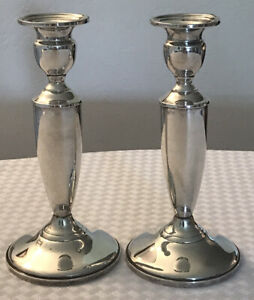 """Pair Towle Sterling Silver Candlesticks weighted 7 1/4"""" tall"""