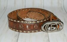 Decorative Worn Distressed Stamped Tooled Name Leather Belt Fred