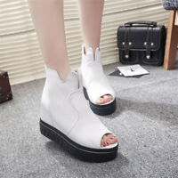 Women Peep Toe Solid Wedge Heel Platform Zip Ankle Boots Creepers High Top Shoe
