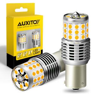 2PCS Amber/Yellow 1156PY BAU15S 2835 24W CANBUS Car LED Turn Signal Light Bulbs