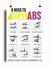 8 Minute Abs Workout Poster for Six Pack Abs Training Core Exercises Abdominal