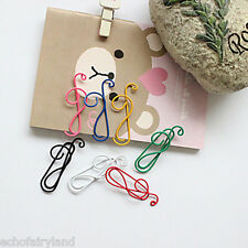 10Pcs Cartoon Stationary Musical Note Paper Clips Office Supplies Random Color