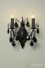 Dusx charlotte vintage en verre noir français 2 bras chandelier murale appliques lumière