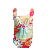 Cabi Womens Sz XS Sleeveless Shirt Tank Floral Ruched Multicolored Stretch Top