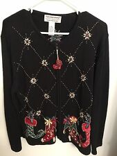 Vintage Christmas sweater ugly/pretty beaded elf boots size L
