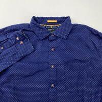 Denim & Flower Button Up Shirt Men's XL Long Sleeve Navy Gray Slim Fit Cotton