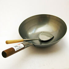 "14"" Flat Based Carbon Steel Wok (Commercial Quality) & Wooden Handle Wok Shovel"