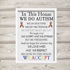 Autism awareness Print a4 Home House Rules Wall Art Photo