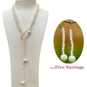Nice Natural white Freshwater pearl 122cm necklace w/free earring high luster