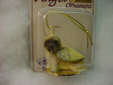 LHASA APSO brown dog ANGEL Ornament PAINTED Figurine NEW Christmas puppy cut
