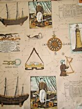 Heavy Duty Fabric with Nautical Symbols and Constellations ~ 6.3 Yards