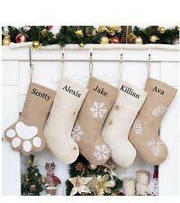 Personalized Embroidered Burlap and Linen Farmhouse Christmas Stockings