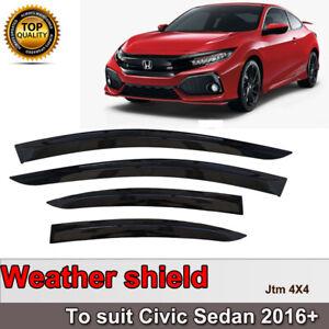 Slim Weather Shield Weathershield Window Visor for Honda Civic Sedan 2016-2021